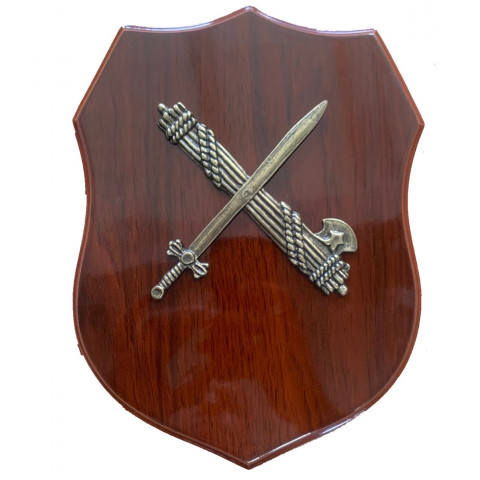 Metopa Guardia Civil con laurel metal sobre madera