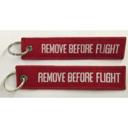 Llavero ambas caras Remove Before Flight rojo